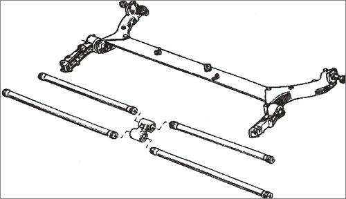 Belka trapezowa z 4 drążkami skrętnymi